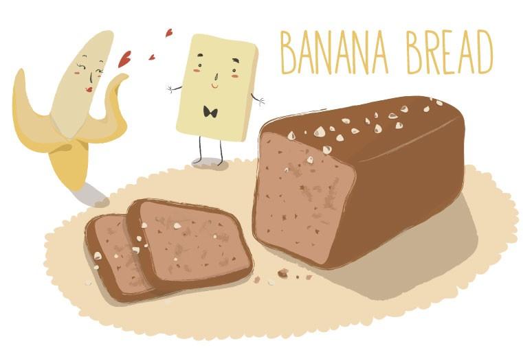 banana bread con noci e cioccolato bianco