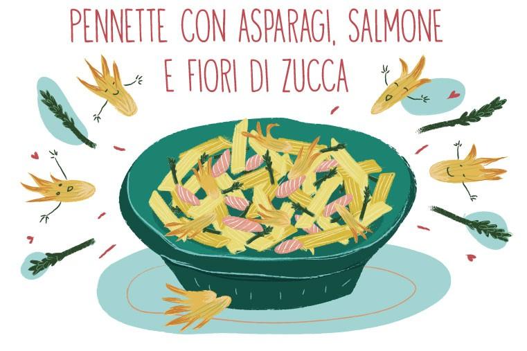 pennette con asparagi, salmone e fiori di zucca