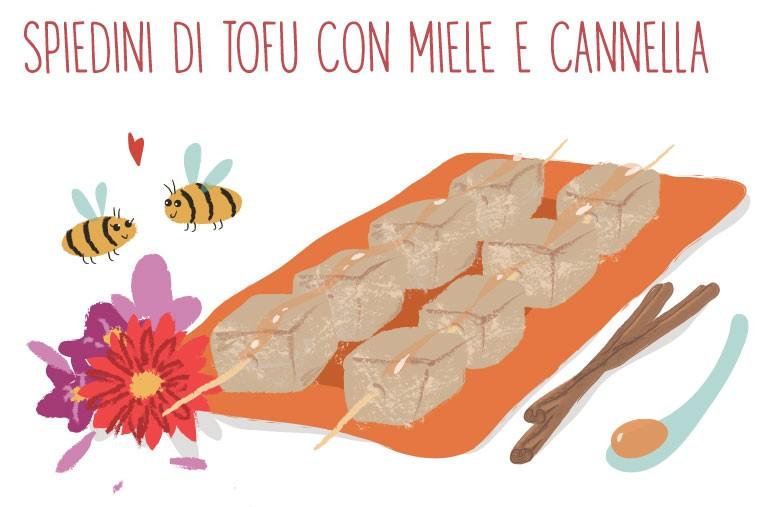 spiedini di tofu con miele e cannella
